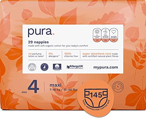 Pura - Pannolini Premium per Bambini, Taglia 4 (Maxi 10-17 Kg), 5 Confezioni da 29 Pannolini (145 Pannolini), Fibre Vegetali Naturali Certificate Fsc, Rispettoso dell'Ambiente