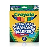 Crayola Marcadores lavables, punta ancha, colores clásicos, paquete de 8