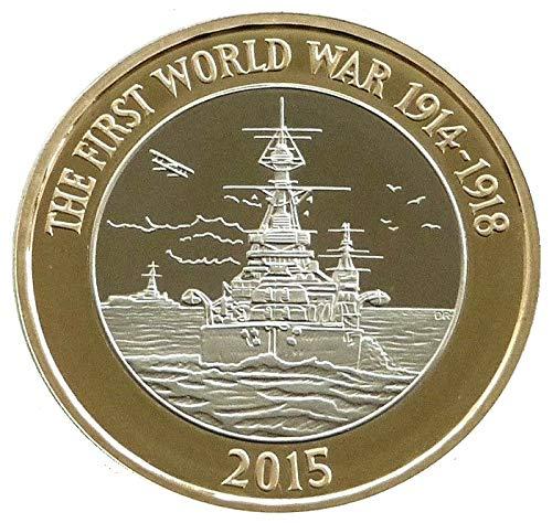 Menta - 2015 100 aniversario de la WW1 Royal Navy HMS Belfast BUNC - Moneda a prueba de 2 libras con soporte para cápsula Airtite en una bolsa