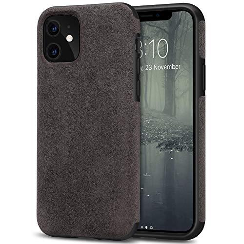 TENDLIN Funda iPhone 11 Hecho de Alcantara Material Carcasa de Híbrida de Cuero (Marrón)