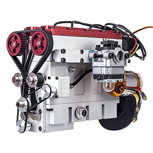 Mocdiy Benzinmotor Modell, 36cc Inline Vierzylinder 4-Takt Motor Bausatz, Wassergekühlt Elektrisch Gestartet Engine Model für RC-Modell Auto Boot Tank