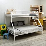 JURMERRY Twin-Over-Full Metal Frame and Ladder Bunk Bed, White