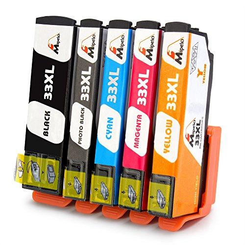 Mipelo Kompatibler Ersatz für Epson 33 33XL Hohe Kapazität Druckerpatrone - 5 Pack Gilt für Epson Expression Premium XP-530 XP-830 XP-630 XP-635 XP-640 XP-645 XP-900 XP-540 Drucker