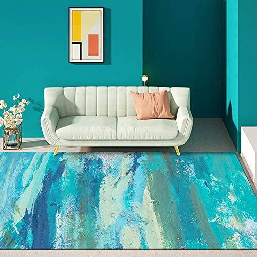 La alfombras para Cocina Alfombra de Sala de Estar de Pintura al óleo de Playa de Agua de mar de Graffiti Abstracto Azul Verde decoración Salon decoración hogar 120*200cm