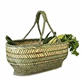 Hkw-shop Einkaufskorb Bambuskorb Warenkorb im Freien Garten-Picknickkorb Geschirrkorb Gemüsekorb Market Basket handgewebt Bambus Frucht Geschenk Flower Camping Einkaufstasche (Color : A)