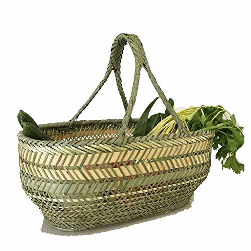 Cestas de la compra tejidas a mano la cesta de bambú carrito jardín al aire libre cesta de picnic Plato Cesta vegetal Market Basket Basket camping de bambú flor de la fruta regalo Carro DE Compra