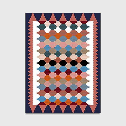 Jkckha antideslizante Manta de área de Soft Mat cubierta de alfombras color multicolor geométrica diamante Habitación Sala Puerta alfombra antideslizante alfombra de noche estera del piso (2 unidades)
