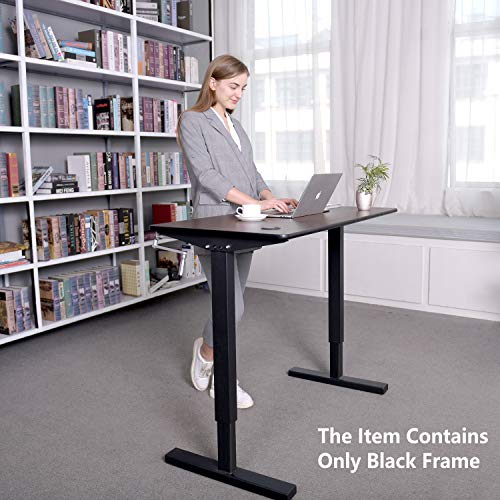 Cozy Castle Adjustable Height Standing Desk Sit to Stand Up Desk, with Manual Crank Handle, Ergonomic Standing 2 Leg Workstation (Only Black Frame)