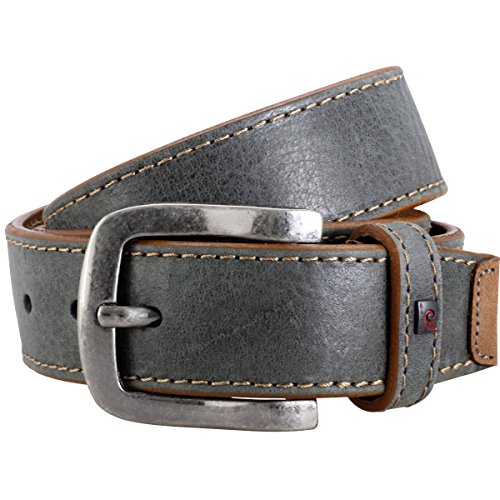 Pierre Cardin Mens leather belt/Mens belt, grey, 70120, Größe/Size:85, Farbe/Color:gris