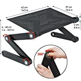 WonderWorker Newton Ergonomic Folding Laptop Table, Adjustable Laptop Stand, Portable Desk for Laptop, Bed Tray Cooling Pad, Black