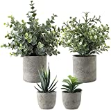 4 Pack Small Potted Artificial Plants, Faux Succulent Plants Gypsophila Eucalyptus Plant Pot for Office Desk, Home Bathroom Garden Indoor Decoration
