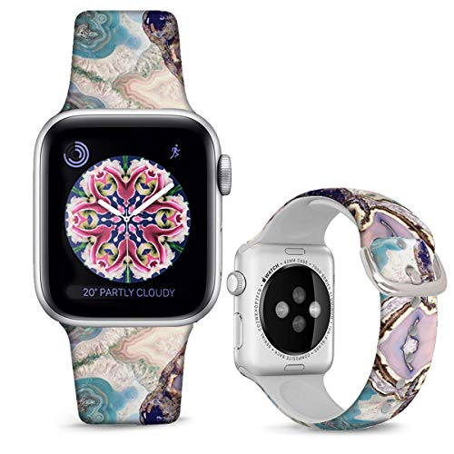 DOO UC Silicone Floral Bands Compatible with Apple Watch 42mm/44mm for Women Girls, Colorful Marble Fadeless Pattern Printed Sport Strap Replacement for iWatch SE & Series 6 & Series 5 4 3 2 1 M/L