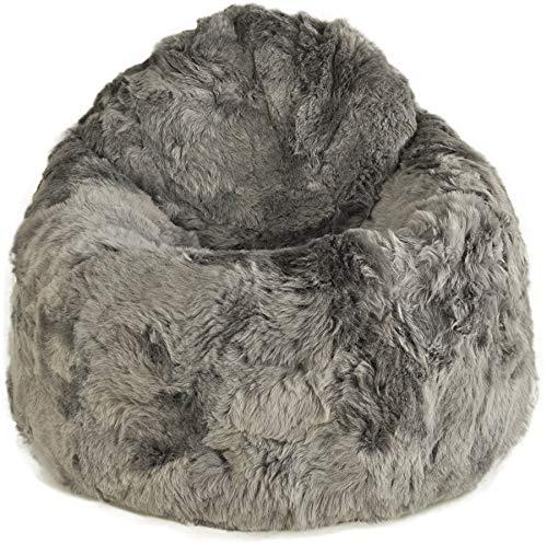 Generisch Sitzsack Pouf aus Lammfell grau gefärbt kurzwollig