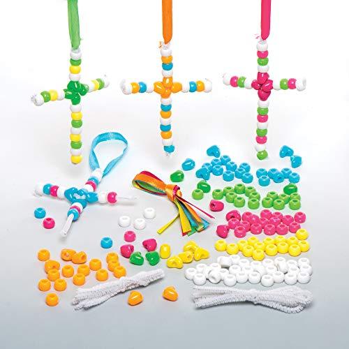 """Baker Ross Anhänger-Bastelsets """"Kreuz"""" mit Perlen (5 Stück) – Bastelidee zu Ostern für Kinder zum Zusammensetzen und Dekorieren"""