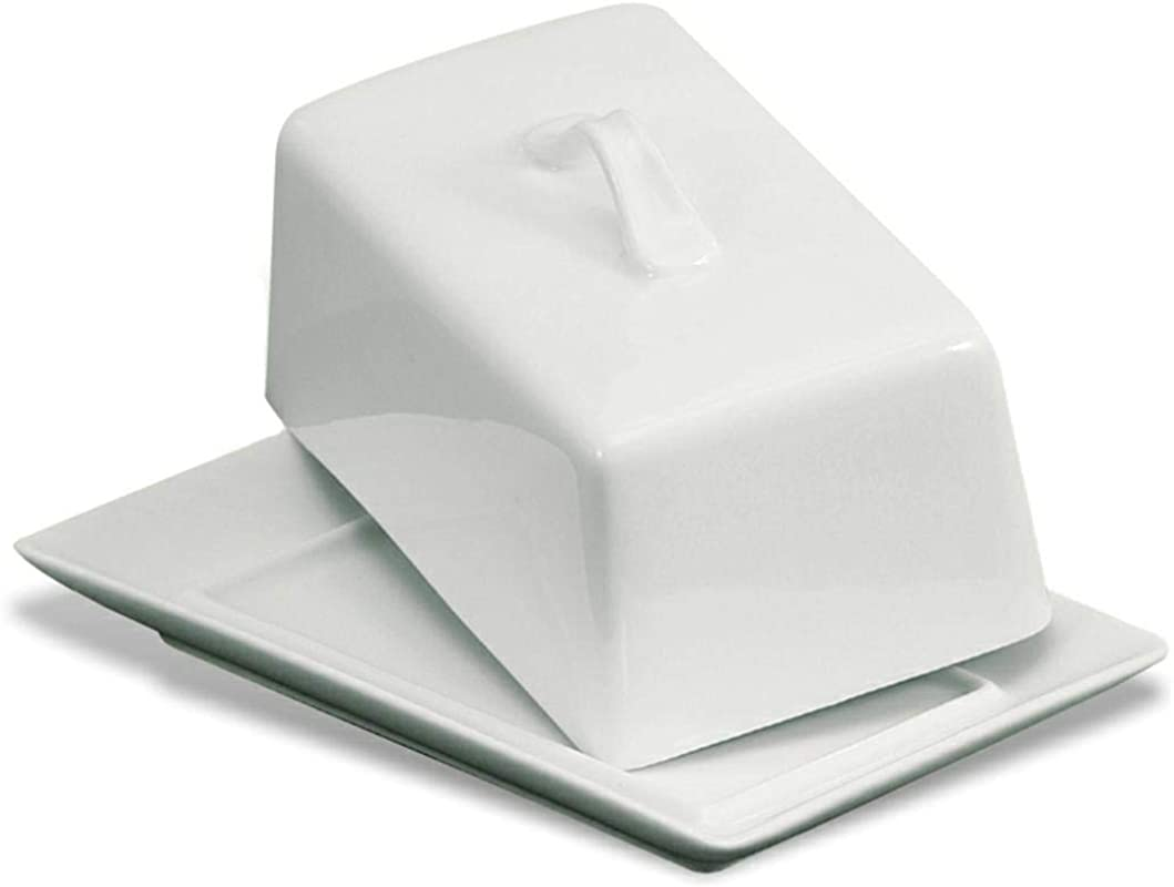 GOURMEX Large Butter Holder With Lid Fits One Pound Of Butter Ideal Butter Keeper For Salted Unsalted And Flavored Butter In Fridge Ceramic White Covered Butter Dish Is Dishwasher Safe