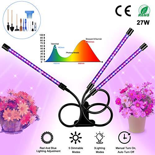 Pflanzenlampe, Gifort LED Pflanze wachsen Licht 27W mit 54 Lampenperlen , 3 Automatisch Timer(3H/6H/12H), 5 Stufen Helligkeit, 360°Einstellbar für Zimmerpflanzen, Sukkulenten, Gemüse, Gewächshaus