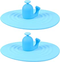 TOYANDONA 2Pcs Silicone Cup Lids Anti- dust Airtight Mug Covers Silicone Drink Lids for Hot and Cold Beverages (Blue)