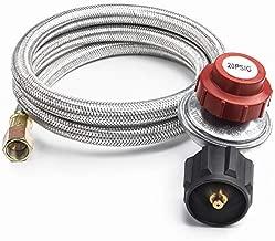 GASPRO 4FT 20 PSI Adjustable High Pressure Propane Regulator with Stainless Steel Hose, LP Gas Grill Regulator Hose for QCC1 Tank,Fits for Grill,Burner,Turkey Fryer,Cooker,firepit and More