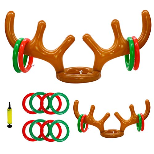 SLKZMD (2 Antlers 8 Rings 1 Pump) Inflatable Reindeer Antler Game, Inflatable Reindeer Antler Hat with Rings, Inflatable Reindeer Antler Ring Toss Game for Christmas Xmas Party Supplies