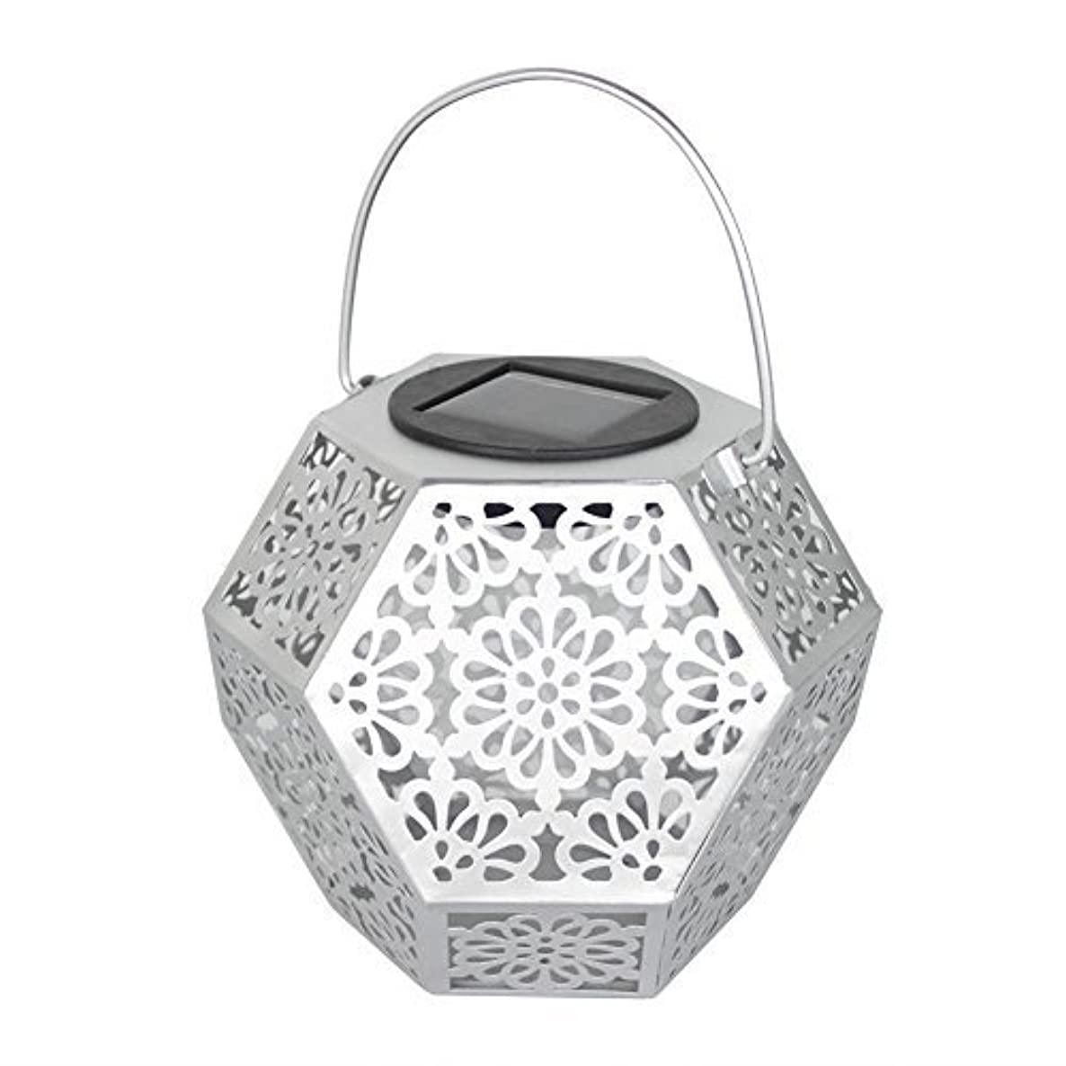 Whitelotous LED Solar Lantern Lights Outdoor Flower Pattern Waterproof Garden Lights Hanging Decoration and Indoor Ambiance Decoration (Silver)