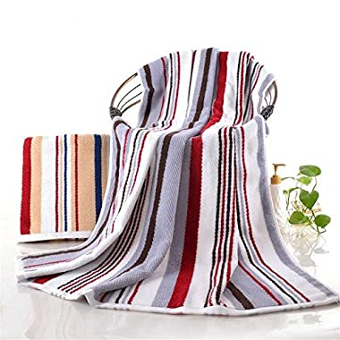 Tamengi 100% Cotton Oversized Large Beach Towel Red and Gray Striped Pool Towel — Easy Care, Maximum Softness and Absorbency (35 x 70 inches)