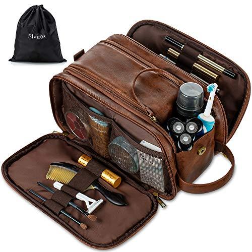 Bolsa de aseo de cuero resistente al agua para hombre, bolsa de viaje grande, kit de afeitado para baño, gimnasio, organizador de maquillaje con bolsa seca