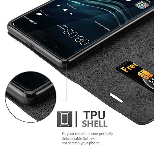 Cadorabo Hülle für Huawei P9 Plus - Hülle in Nacht SCHWARZ – Handyhülle mit Magnetverschluss, Standfunktion und Kartenfach - Case Cover Schutzhülle Etui Tasche Book Klapp Style - 5