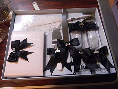 Wedding Reception Motorcycle 8 Psc Set Guest Book Glasses Cake knife Garter