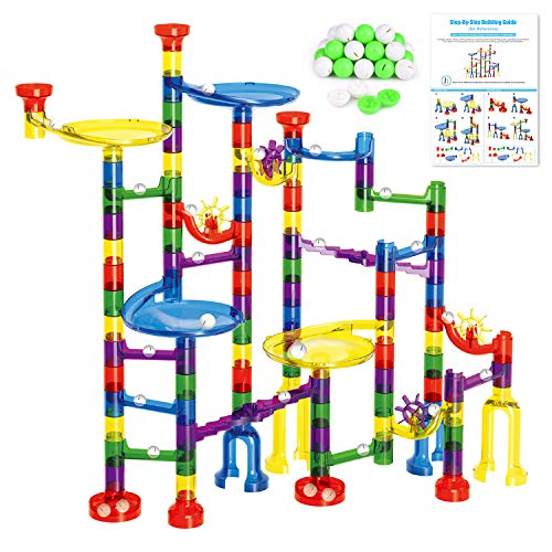 FUN LITTLE TOYS Kids Marble Run Set-154Pcs (90Translucent Pieces + 64Marbles) for Marble Race Track Game, Family Game