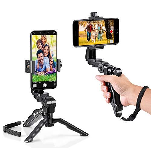 Zeadio Mini Handy Stativ Kits, Tischstativ Handgriff Stabilisator mit Handyhalterung, Passend für alle iPhone & Android Smartphones
