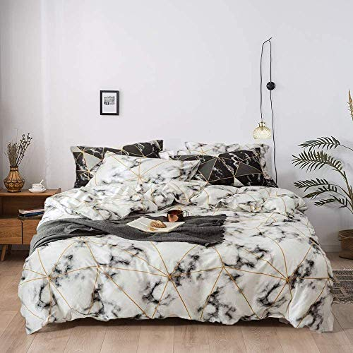 Jumeey White Duvet Cover King Grey and Gold Bedding Sets Cotton Women Abstract Gold Plaid Duvet Cover King Men Girls Boys Marble Bedding Set King Size