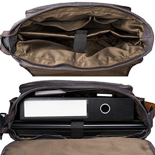 Estarer Laptoptasche 17/17,3 Zoll Umhängetasche Canvas für Arbeit Uni Grau