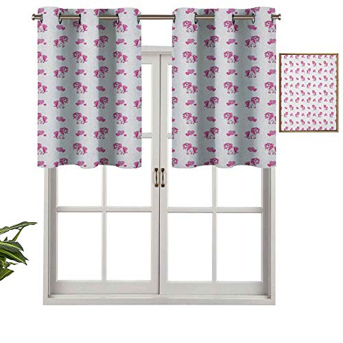 Premium Grommet Blackout Valance Pink Hearts and Magical Pony Horse Kids Girls Design Fairytale Toy Animal Cartoon, Set of 1, 54'x18' Home Decorative Blackout Panels for Bedroom