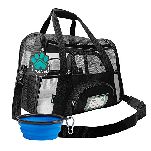 Price comparison product image PetAmi Premium Airline Approved Soft-Sided Pet Travel Carrier / Ideal for Small - Medium Sized Cats,  Dogs,  and Pets / Ventilated,  Comfortable Design with Safety Features (Small,  Clear)