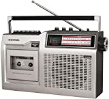 Crosley CT200B-SI Retro Portable Cassette Player with Bluetooth, AM/FM Radio, and Built-in Microphone, Silver