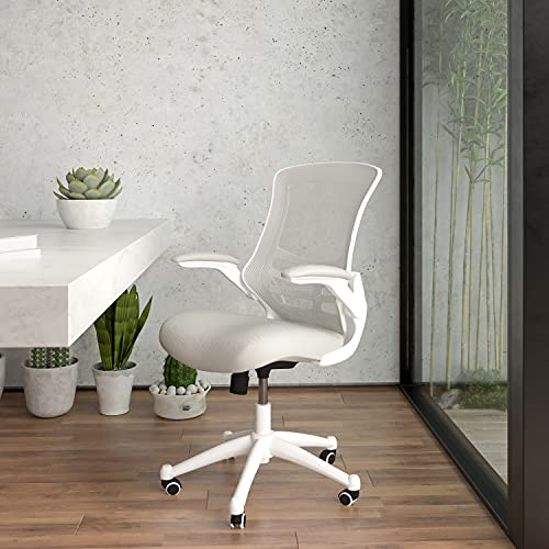 Flash Furniture Mid-Back Light Gray Mesh Swivel Ergonomic Task Office Chair with White Frame and Flip-Up Arms
