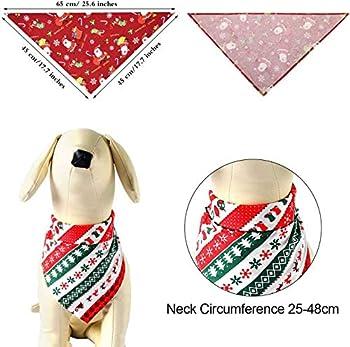WELLXUNK® Bandana pour Chien, 4 pcs écharpe de Père Noël Chien, Foulard pour Chien, pour Petits Chiens et Chats de Taille Moyenne et Grande pour Accessoires de Costume d'Animal (M2)
