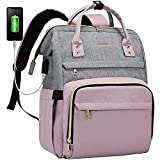 LOVEVOOK Laptop Backpack for Women Travel Business Work Computer Bag Purse Bookbag with USB Port Fits 15.6-Inch Laptop Grey-Light Purple