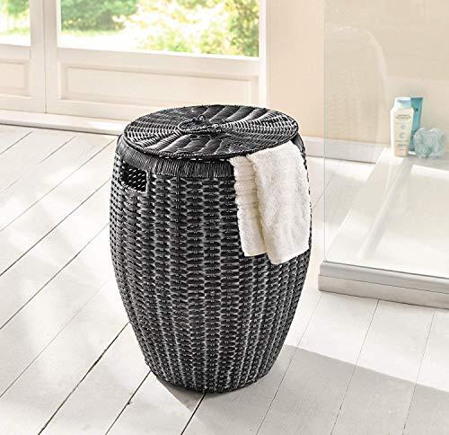 Dekoleidenschaft Wäschekorb aus Polyrattan, anthrazit, weiß gekalkt, Wäschsammler