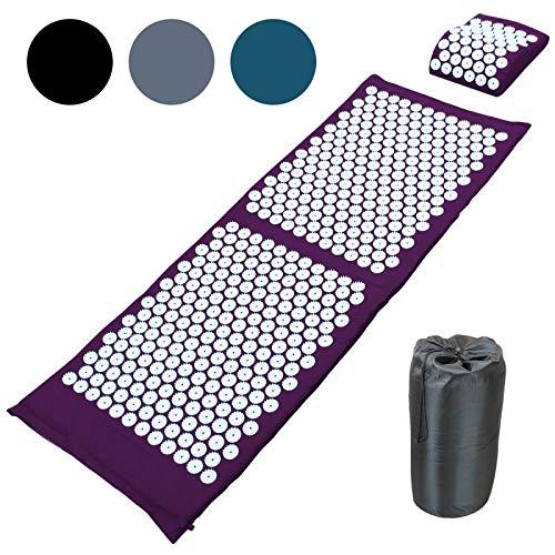 Vivezen  Tapis et coussin d'acupression 130 x 50 cm + sac de transport - 4 coloris - Norme CE