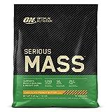 Optimum Nutrition Serious Mass Proteina en Polvo, Mass Gainer Alto en Proteína, con Vitaminas, Creatina y Glutamina, Chocolate Mantequilla de Cacahuete, 16 Porciones, 5,45kg, Embalaje Puede Variar