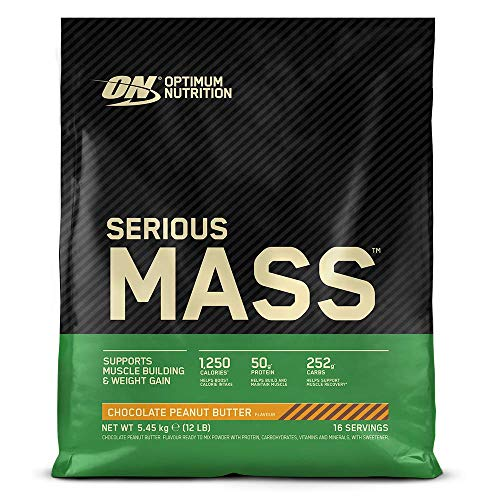 Optimum Nutrition Serious Mass Protein Powder High Calorie Mass Gainer with Vitamins, Creatine Monohydrate and Glutamine, Chocolate Peanut Butter, 16 Servings, 5.45 kg, Packaging May Vary