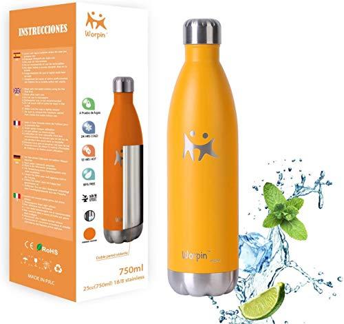 Trinkflasche Edelstahl Thermosflasche BPA-frei Auslaufsicher Vakuumisolierte Sportflasche Leicht Wasserflasche - für Reisen, Sport und Outdoor mit Reinigungsbürste (Orange, 750ml)