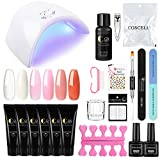 Saint-Acior 6PC Poly UV Gel Construcción Uñas Rápida Poly Extention Gel Kit Gel 36W UV/LED Lámpara Secador de Uñas Cleanser Plus Top Coat Base Coat Kit
