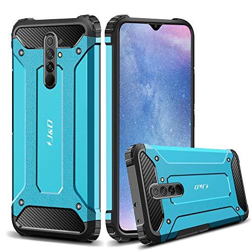 J&D Compatible para Xiaomi Redmi 9 Funda, Protección Pesada [Armadura Delgada] [Doble Capa] Híbrida Resistente Funda Protectora y Robusta para Redmi 9 (Azul)