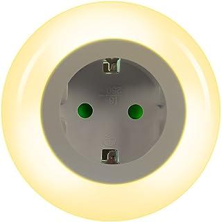 Emotionlite LED Enchufe de Luz Nocturna con Sensor de Crepúsculo.Iluminación Ambiental 0.6W 3 Colores (Verde, Azul, Blanco) Intercambiable Max.3680 (1 Paquete)