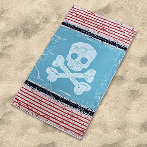 Sibiles - Toalla de Playa Algodón Terciopelo 100x170 cm Calavera Pirata Captain Marino