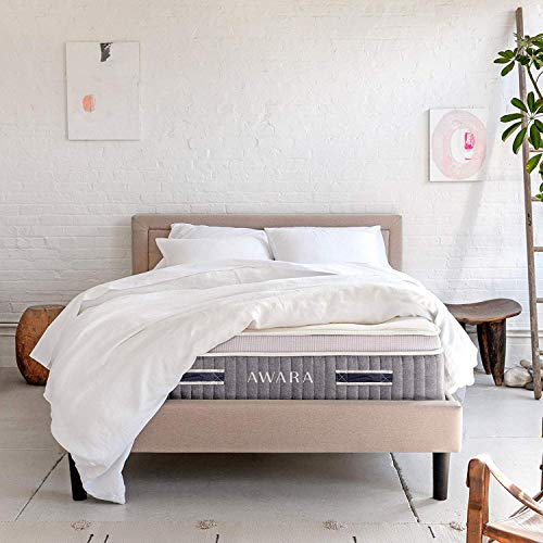 Awara Hybrid Organic Mattress, Non-Toxic, Chemical Free Dunlop Latex and Coil System, with Organic Cotton and New Zealand Wool Top, Premium Luxury Eco Comfort,Queen