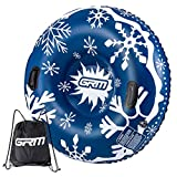 GRM Snow Tube, 47 Inch Sled for Snow Sleds for Kids and Adults, Heavy Duty Inflatable Sledding Tube for Winter Snow, Blue