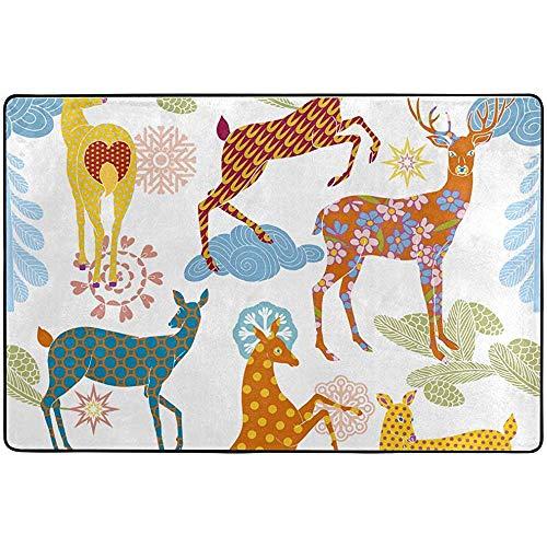 Anna-Shop Vintage Bloemen Elk hert Polka Dots gebied tapijt vloerbedekking Runner Pad Tapijt voor Woonkamer Slaapkamer Keuken Eetkamer 84 x 60 Inch